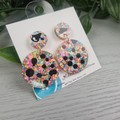 Confetti Spots Circle - Glittering Drop Resin - earrings
