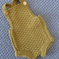 Yellow  Baby Romper - Size 0-3 months - hand knitted a wool cotton blend yarn