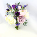 Silk Flower Wedding Bouquet Purple, Mauve and Ivory Rose & Peony Bouquet