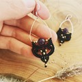 Boho earrings, macrame earrings with amethyst, black earrings