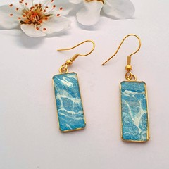 Gold Hypoallergenic rectangular drop earrings in beautiful blue and white