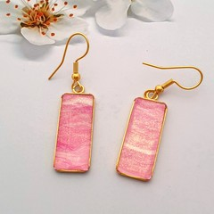 Gold Hypoallergenic Rectangular Drop Earrings  in Pink