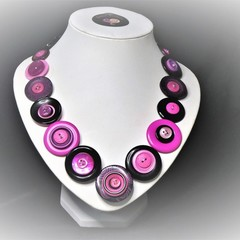 Pink and black Button necklace   - Pink Panther