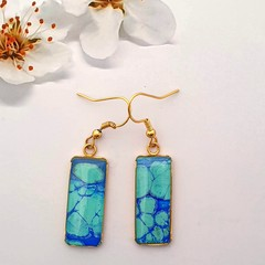 Gold Hypoallergenic rectangular drop earrings in dark and light blue
