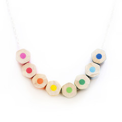Colored pencil necklace on sterling silver chain, teacher gift :)