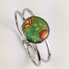 Women's round resin silver cuff bracelet bangle William Morris green floral art