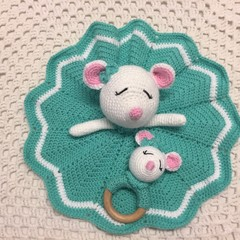 Baby Comforter: READY TO POST, Mouse Security Blanket and Rattle,  Baby Gift