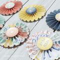 Glass Button Rosette Flowers