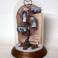 FAMILY TREE ASSEMBLAGE, Wire Art, Vintage, Ancestors, Glass Cloche, Altered Art