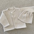 Cream Cardigan and hat - Newborn - pure wool - Hand knitted