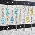 Long beaded linked rings Asymmetric silver chain earrings , Blue Clear Yellow