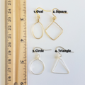 Minimalist simple geometric wire earrings , Circle Oval Triangle Square