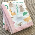 Baby Coverlet/Play Mat/Baby Cot Quilt/Nursery Bed in Cute Animals Print