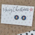 Glass dome stud earrings  Christmas Rudolph