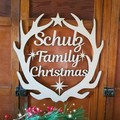 Personalised Family Christmas Timber Wreath - Large