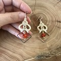 White boho earrings, macrame earrings with carnelian stone and silver