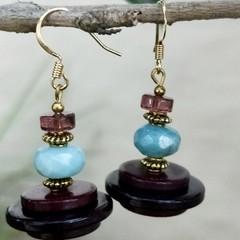 Funky retro button & agate earrings.