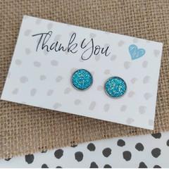 Glass dome stud earrings  Aqua blue glitter