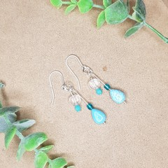 Silver, turquoise, aquamarine, clear quartz and natural howlite dangle earrings
