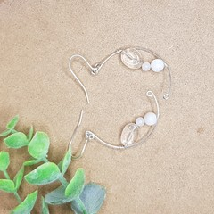 Silver clear quartz, rose quartz and mother of pearl half moon earrings.