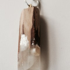 Eco Epoxy Resin Wood Pendant - clear with white ochre sprinkles