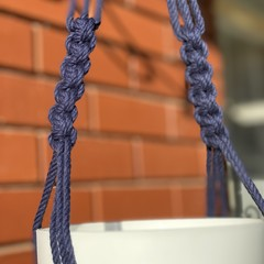 Macrame plant hanger navy natural cotton