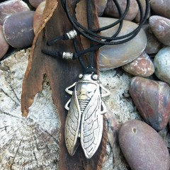 Large metal cicada pendant on suede cord.