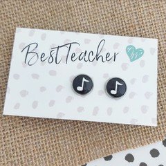 Glass dome stud earrings  Music note black and white