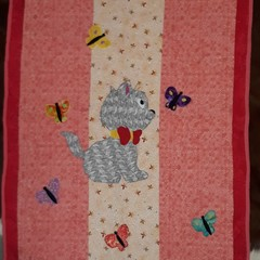 Cot quilt - applique - pink with cat and butterflies