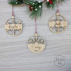 Personalised Christmas Tree Ornaments - Pine