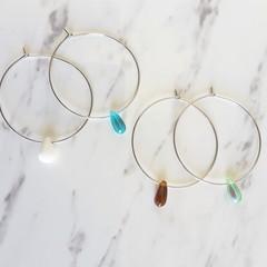 Minimalist glass tear drop bead hoop earrings , Blue Green Brown White