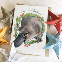 Christmas Card with Platypus and Australian gum leaf wreath blossom wildlife