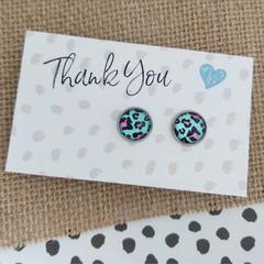 Glass dome stud earrings  Leopard Print Aqua and hot pink