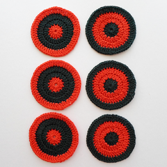 Christmas Drink Coaster Set in Bright Red and Dark Green