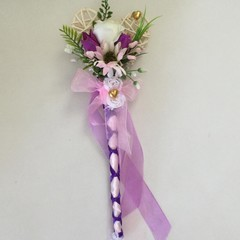Purple Faux Flower Girl Wand