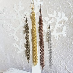 Long chain chunky tassel statement dangle earrings , Gold Silver Bronze Brown
