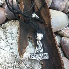 Viking ram's head & Mjolnir hammer pendant.