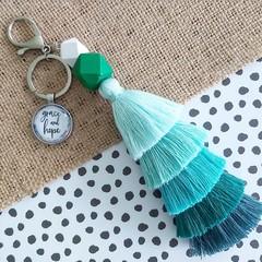 Grace and hope - Tassel keyring/bag tag