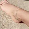 White anklet, macrame boho anklet