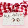Gift set - Earrings and red gingham hair tie