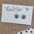Glass dome stud earrings  Elephant