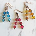 Long Colourful round Agate wire wrapped dangle earrings , Blue Pink Yellow