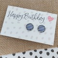 Glass dome stud earrings Navy and white stripes