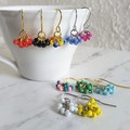 Short colourful beaded mini ring Tassel / Fringe dangling earrings , Silver Gold