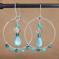Silver turquoise, aquamarine, clear quartz and natural howlite earrings
