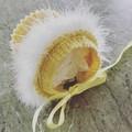 Baby Bonnet Faux Fur Trim Vintage Style