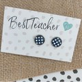 Glass dome stud earrings  Navy and white dots