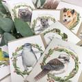 Christmas Card with Superb Fairy Wren, wildlife Aussie Christmas wreath gum leaf