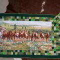 Green Horse Bedrunner (Queen size) with matching cushion cover