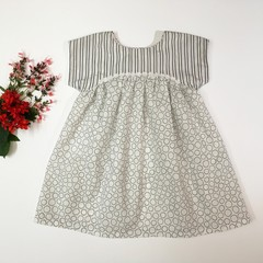 Girl Toddler Dress Casual Izzy Dress Grey and White Size 2
